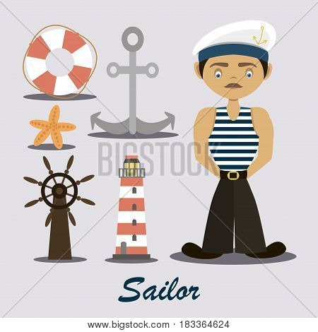 Sailor with a lighthouse and anchor. Vector illustration, EPS 10