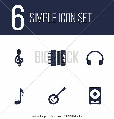 Set Of 6 Song Icons Set.Collection Of Banjo, Earphones, Amplifier And Other Elements.