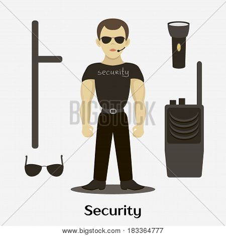 Security man standing with accessories. Vector illustration, EPS 10