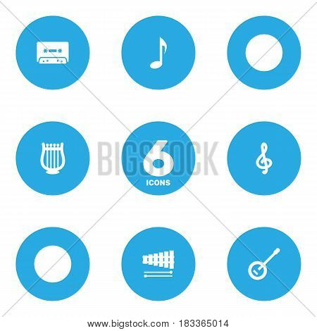 Set Of 6 Music Icons Set.Collection Of Percussion, Banjo, Tape And Other Elements.