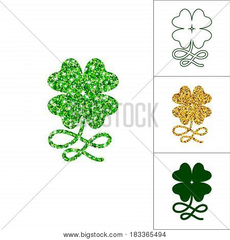 Set of four leaved clover with curly stem for saint Patricks day greeting with shimmer greenery particles, silhouette, line and gold shamrock. Vector lucky bundle isolated on white background.