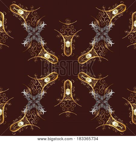 Patina. Luxury furniture. Seamless element woodcarving. Furniture in classic style. Small depth of field. Pattern on brown background with golden elements. Brown tree with gold trim. Carving.
