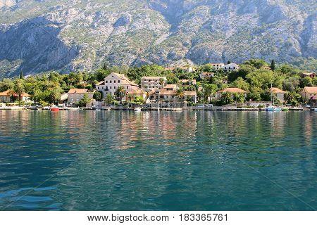 Kotor bay, Montenegro. Adriatic sea. Sea view. Mountains view