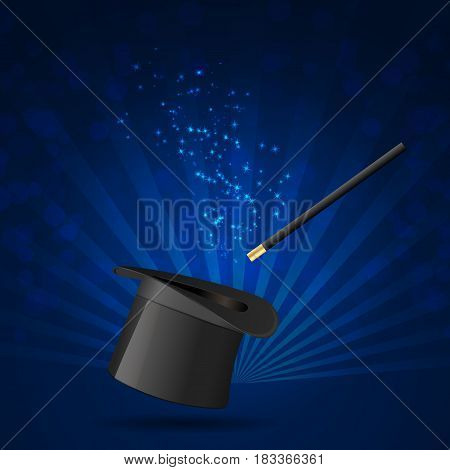 Cylinder and magic wand vector background. Illustration
