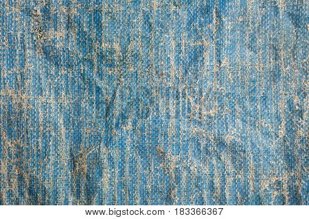 Old Nylon Blue Sack Background. (Industrial Material)