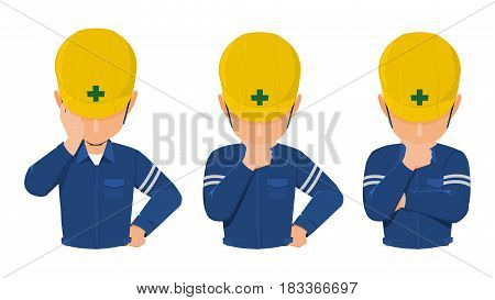 set of worker is thinking on transparent background