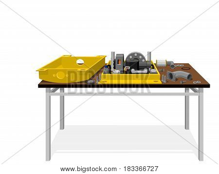uncovered machine on the table on transparant background