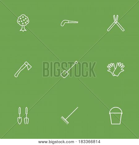 Set Of 9 Household Outline Icons Set.Collection Of Spade, Garden, Hatchet And Other Elements.