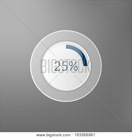 25 percent pie chart icon. Percentage vector infographics. Circle diagram symbol isolated on dotted background. Blue white grey transparent business illustration
