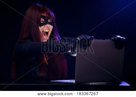 Girl steals information from computer