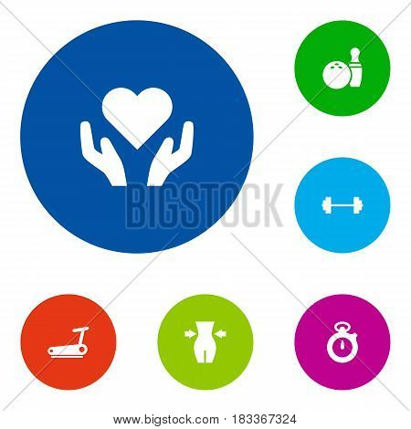 Set Of 6 Bodybuilding Icons Set.Collection Of Heart In Hand, Kegling, Timer Elements.
