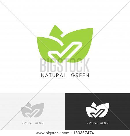 Natural green logo - leaves with check mark or tick symbol. Ecology, nature and selection vector icon.