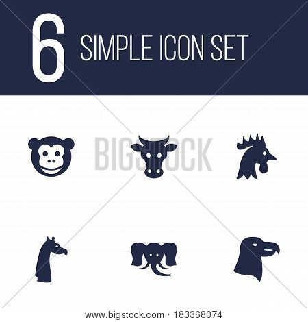 Set Of 6 Beast Icons Set.Collection Of Kine, Camelopard, Rooster And Other Elements.