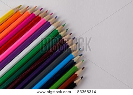 Multicolored pencils  on white background. Copy space