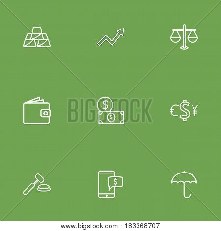 Set Of 9 Finance Outline Icons Set.Collection Of Protect, Electron Payment, Dollar And Other Elements.