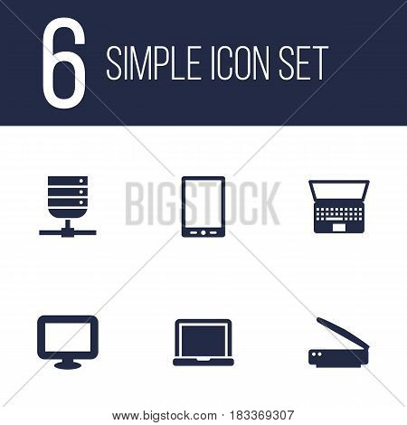 Set Of 6 Laptop Icons Set.Collection Of Palmtop, Display, Notebook And Other Elements.