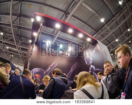 MOSCOW RUSSIA - APRIL 21 2017: Booth of Lenspen company at PhotoForum 2017 trade show and exhibition in Moscow Russia on April 21 2017.