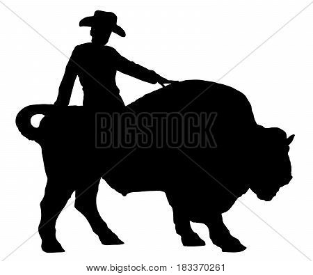 Rodeo man on a buffalo bison bull silhouette