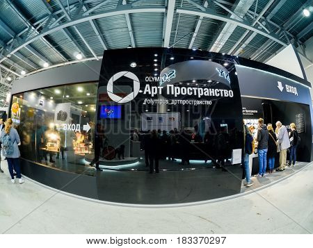 MOSCOW RUSSIA - APRIL 21 2017: Booth of Gitzo company at PhotoForum 2017 trade show and exhibition in Moscow Russia on April 21 2017.