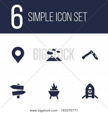 Set Of 6 Picnic Icons Set.Collection Of Location, Jackknife, Bbq And Other Elements.