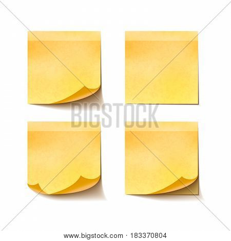 Set of yellow sticky notes isolated on white background