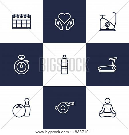 Set Of 9 Training Outline Icons Set.Collection Of Running Track, Exercise Bike, Bowling And Other Elements.