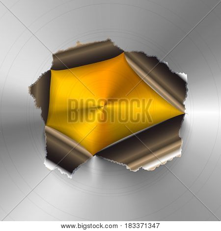 Torn hole in glossy round polished metal plate on golden background