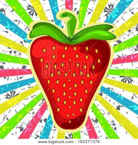 Retro grunge strawberry illustration. Delicious strawberry. Vintag
