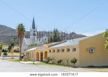 BARRYDALE SOUTH AFRICA - MARCH 25 2017: The municipal offices and Dutch Reformed Church in Barrydale a small town on the scenic Route 62 in the Western Cape Province