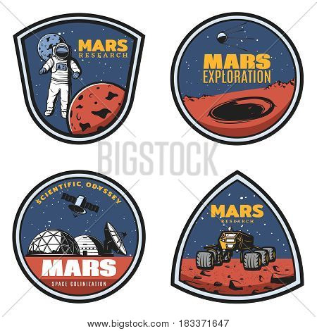 Colored vintage Mars research emblems set with astronaut in outer space crater cosmic station rover isolated vector illustration