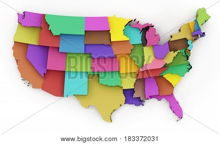 Multi colored USA map showing state borders. 3D illustration.