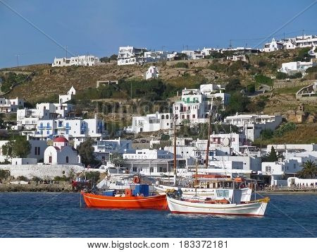 Stunning view of the Old Port of Mykonos, Mykonos island, Greece
