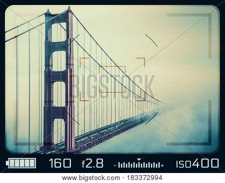 Golden Gate Bridge seen through camera viewfinder. San Francisco California.