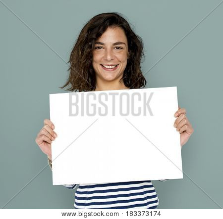 Lady Woman Holding Blank Paper