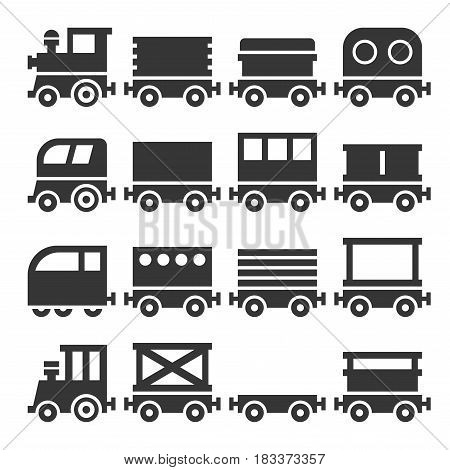 Train and Carriage Icons Set. Modern Vintage. Vector