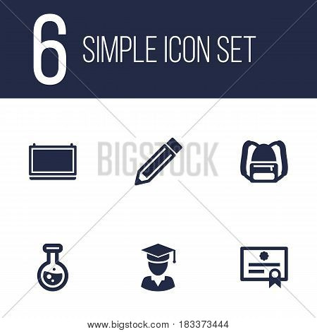 Set Of 6 Science Icons Set.Collection Of Certificate, Blackboard, Rucksack And Other Elements.