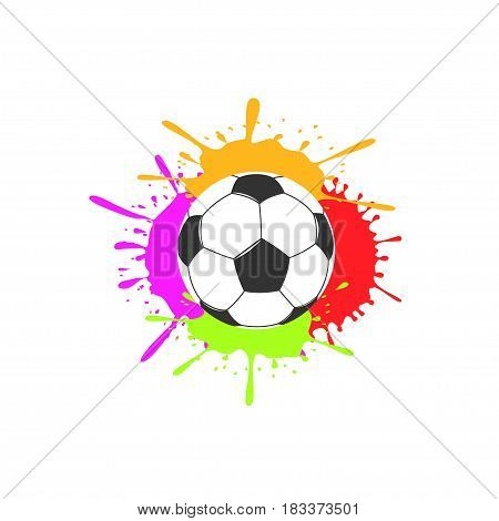Football Soccer ball on colorful paint splashes background