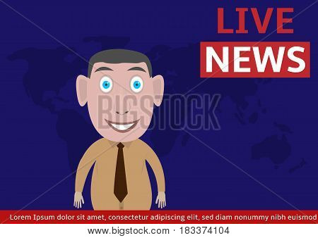 Live news illustration. Anchorman on tv broadcast news