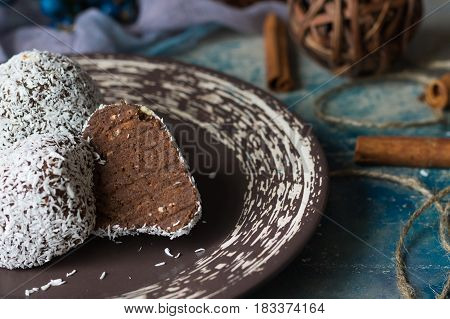 Chocolate cake called potato in coconut chips