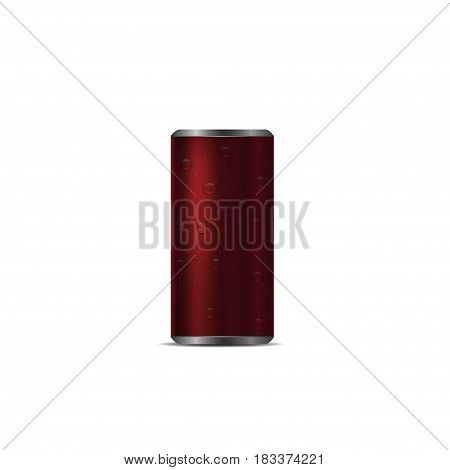 Red Aluminum drink can with drops over white background
