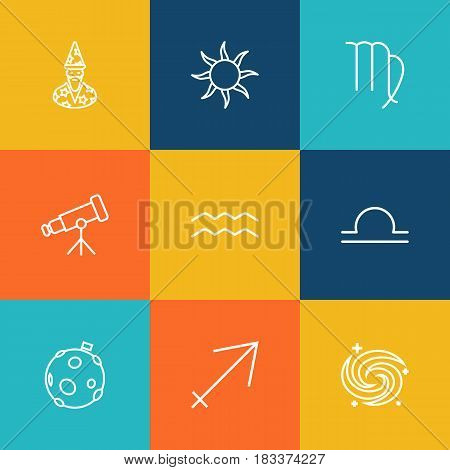 Set Of 9 Horoscope Outline Icons Set.Collection Of Sagittarius, Telescope, Aqurius And Other Elements.