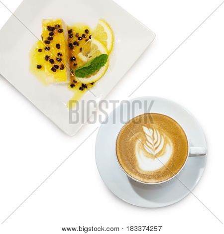Passion Fruits Crepe Cake And Cappuccino Coffee