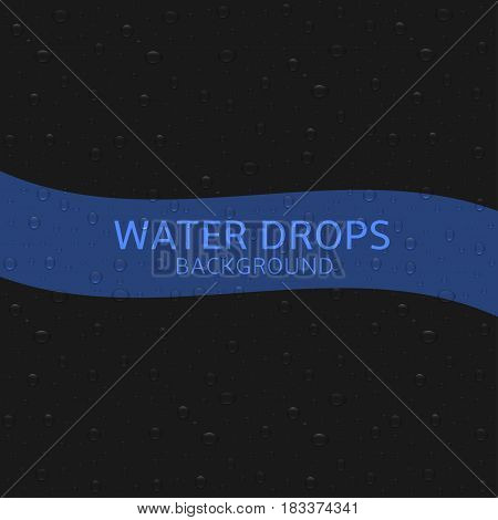 Water drops over black background. Rainwater illustration