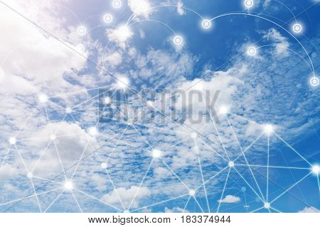 Wireless communication network IoT Internet of Things and ICT Information Communication Technology concept. Blue sky with cloud in sunny day. Connection background. poster