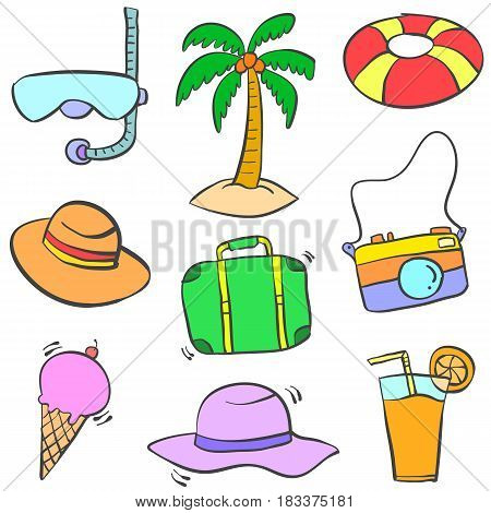 Collection stock of summer object doodles colorful illustration