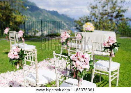 Wedding ceremony set up in Ravello Amalfi Coast Italy