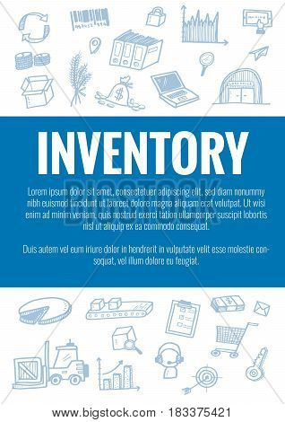 Vector Template For Inventory Theme With Hand Drawn Doodles Logistic Business Icons In Background.th
