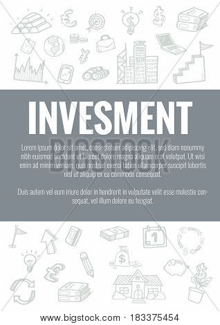 Vector Template For Invester Theme With Hand Drawn Doodles Business Icon In Background.concept For B