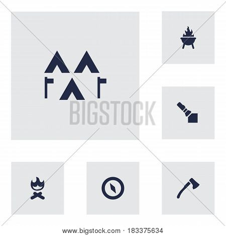 Set Of 6 Outdoor Icons Set.Collection Of Magnet Navigatior, Flashlight, Wood Axe And Other Elements.