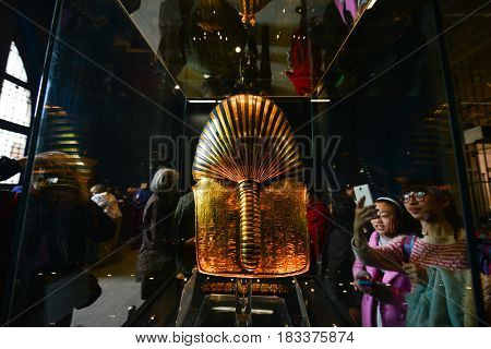 CAIRO, EGYPT - 08 JANUARY 2016: Tutankhamen's Mask in Egyptian Museum in Cairo. It is main attraction object of the Museum.